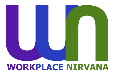 workplace nirvana logo purple, blue and green colours